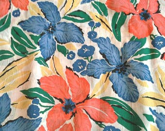 Large Blue and Orange Floral Cotton Polyester Blend Lightweight Fabric 3 3/4 Yards X0785