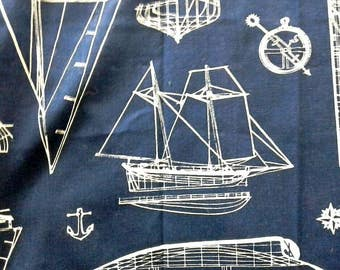 White Outlined Tall Ships on Dark Blue Cotton Duck Fabric 2 1/4 Yards X0803