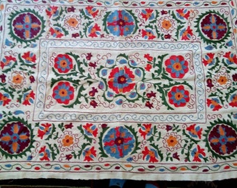 Uzbek hand embroidered suzani. Wall hanging, table runner, bed cover suzani