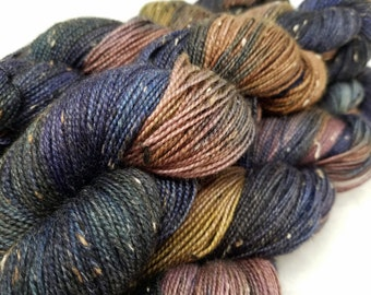 Moonshadow, Purple Brown Blue Pink, ColorPurl Finnegan Hand Dyed Yarn,  BFL Bluefaced Leicester Donegal Tweed, Sock Weight, 438 Yards