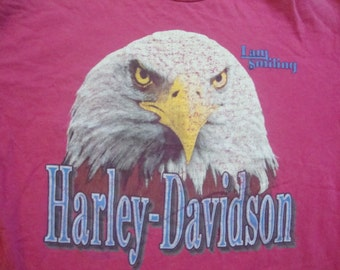 Vintage 80's Harley Davidson Motorcycle I am Smiling Eagle Biker Chick's Albuquerque New Mexico PINK T shirt L