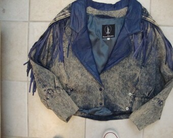 Vintage 80's Diamonds Leather Fringe Stonewashed Denim Jacket M