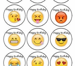 Printable Emjoi Birthday Cup Cake Toppers Digital File PDF