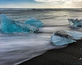Iceland - Famous Ice Beach Panoramic Fine Art Photography Print