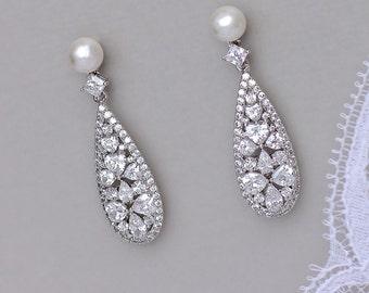 Pearl Stud Bridal Earrings, Crystal Drop Earrings, Teardrop Crystal Earrings, Silver Earrings, RITA PP