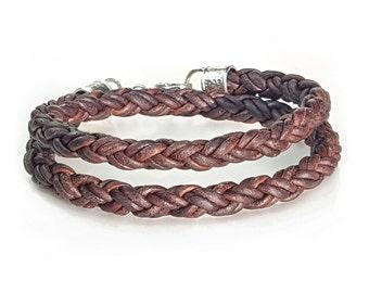 Leather Bracelet for Men, Braided DOUBLE WRAP Bracelet, BROWN Leather and Silver Bracelet, Custom Men's Leather Bracelet, Cool Mens Bracelet