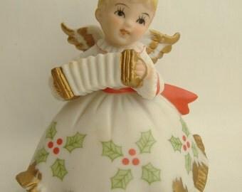 Lefton Mid Century Bisque Christmas Angel with Accordion