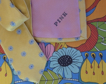 Thomas Pink Designer Men's Necktie / Silk Thomas Pink Tie / Silk Thomas Tie / Men's Silk Necktie / Yellow Men's Tie / Designer Men's Tie.