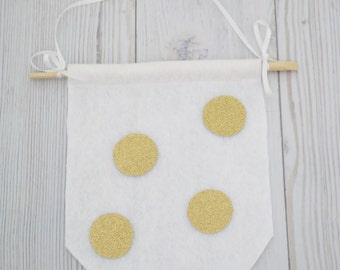 Gold flags , felt flag , wall hanging , girl room