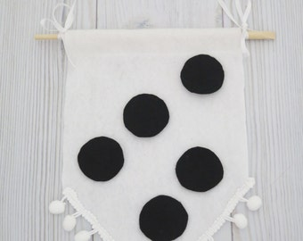 Felt flag , wall hanging ,pompon , black and white wall art , black and white room, kids room decor