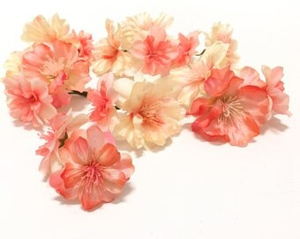 17 Flower Blossoms in CORAL PEACH - Artificial Flowers, Peach Blossoms, Silk Flowers, Wedding, Flower Crown, Millinery, Corsage, Boutonnière