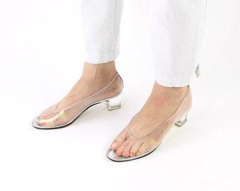 VINTAGE Clear Heels See Thru Plastic Pumps Size 8.5