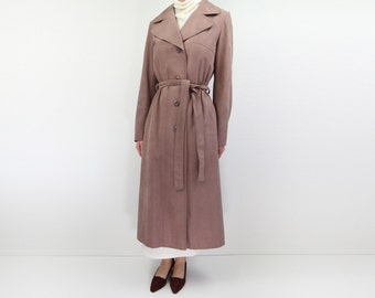 VINTAGE Trench Coat Mauve Ultrasuede 1970s