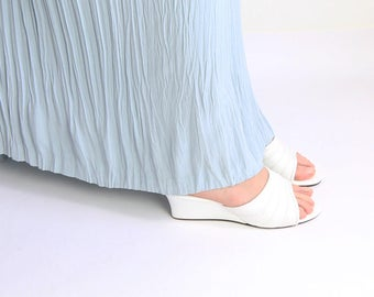 VINTAGE White Wedge Heels 1960s Sandals Size 7.5 Vegan