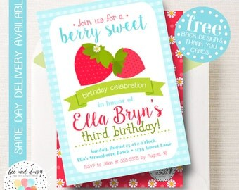 Strawberry Invitation, Strawberry Birthday Invitation, Strawberry Birthday Party, Strawberry Party Invitation, BeeAndDaisy