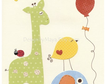Nursery art prints, Baby Room decor, Nursery Art Decor, Kids Print, Giraffe, baby bird, elephant, Rainbow series parade, balloon, ladybug