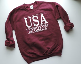 New USA Maroon & White Stripe Crewneck Sweatshirt Pullover // Size S-2XL