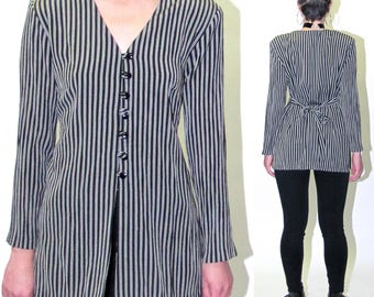 Vintage Beetle Juice Striped Blazer Striped Jacket Retro Gray and White Striped Blazer Size Small 90s Jacket Button Up Striped Jacket