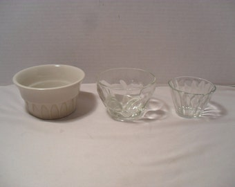 Lot of 3 Vintage Small Glass Dishes or Sauce Condiment Bowls