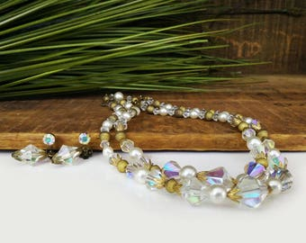 Vintage crystal & gold beaded necklace and clip on earrings, costume jewelry / Two strand