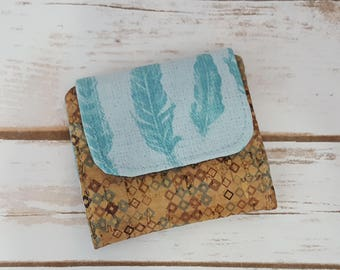Mini Slimline Wallet - Feathers and Printed Cork