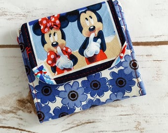 Mini Slimline Wallet - Minnie and Mickey Mouse - Blue Floral - Red Polka Dots