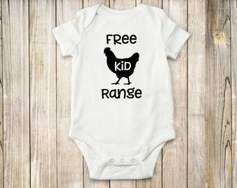 Free Range, Kid, Onesie, Bodysuit, Chicken, Farm, Animals, Baby clothing, Shirt