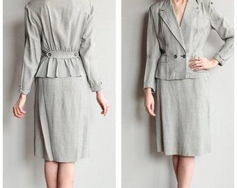 1940s Suit // Houndstooth Gabardine Suit // vintage 40s suit