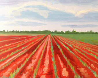 Delta Crop | 18 x 24 inch Impressionist | Landscape | Agricultural Farm countryside Art | Original Oil Painting farm southern