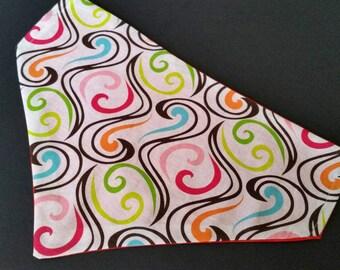 Colorful dog bandana, Swirls dog bandana, Reversible dog bandana, Slip on, Over collar, Dog bandana, Easy to put on