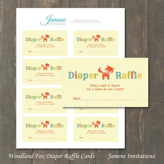 Diaper Raffle Cards Woodland Fox Gender Neutral Baby Shower