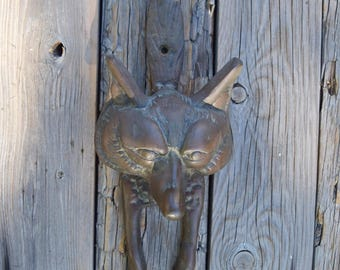 Fox door knocker vintage door decor brass fox figurine cottage decor door hardware animal decor housewarming gift wedding gift fox art foxes