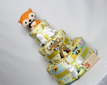 Baby Diaper Cake Woodland Animals Creatures Critters Forest Shower Gift Centerpiece