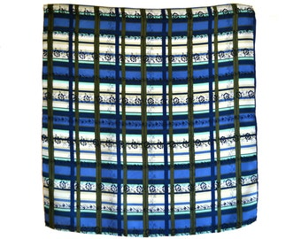 Vintage Silk Scarf, Blue Plaid Near Mint Condition 22 in sq. Blue Green White Black Plaid Geometric Hand Rolled Hem