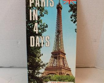 Vintage Travel Booklet Paris in 4 days 1980's Brochure ephemera 155 full color photo