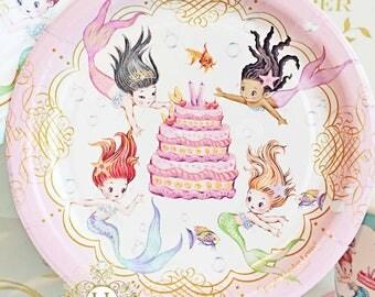 Mermaid Paper Dessert Plate Set by Loralee Lewis