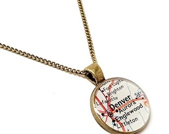 Denver Map Necklace. Denver Necklace. Made With A Real 1972 Vintage Map. Ready To Ship. Colorado Map Pendant Jewelry. Going Away Necklace.