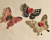 Butterflies with Rose embellishment 1 1/2 to 1 3/4 inch high gray pink black