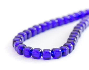 Cobalt Blue Glass Square Beads, Pressed Czech Glass Cube Beads, 5mm x 25pc (0017)