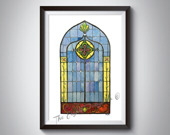 Watercolor Stained Glass Print