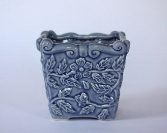 Vintage Ceramic Blue Floral Planter by Hosley Potteries