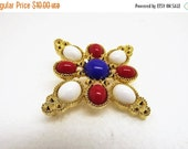 HolidaySale Vintage Sarah Coventry Red White and Blue Brooch~Sarah Cov Jewelry~Vtg Sarah Coventry Americana Brooch Pin Delizza & Elster Red