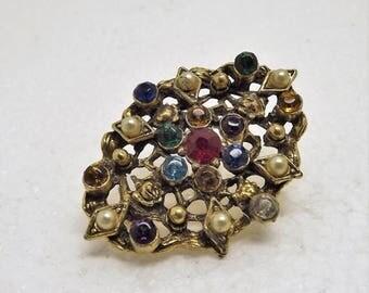 SpringSale17 Vintage Art Deco 1930's Multi Color Rhinestone Pearl Pin Brooch