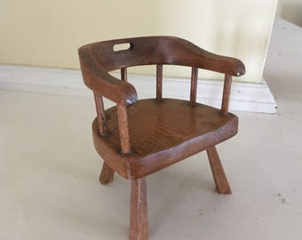 Handmade antique miniature captain chair