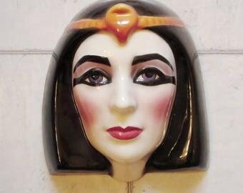 Clay Art Ceramic Wall Mask, Elizabeth Taylor Cleopatra Decorative Theatrical Wall Hanging