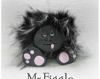 Furry Monster Collectable 'Mr Figgle' Polymer Clay *not a toy*