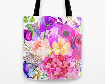 Pretty Autumn Floral Watercolor Tote Bag with shades of violet, peach, and pink. Great to carry groceries in or to wear around town.