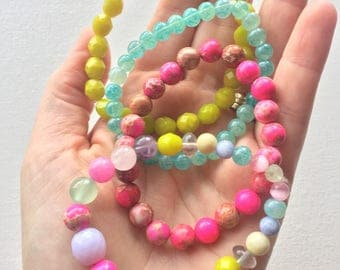 Springtime beautiful pastel and brights gemstone and Czech glass beaded bracelets set. Choose number and of color(s) of desired bangles
