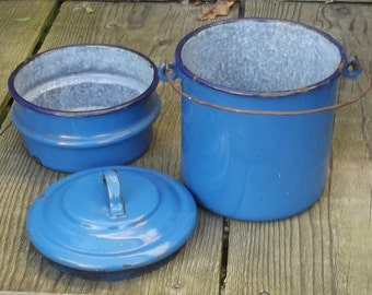 Antique French Blue Enamel Lunch Pail Workers School canteen