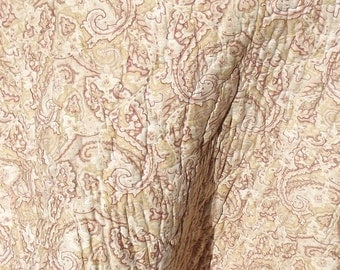 Antique French Boutis Quilt Paisley Arabesque Large Throw Comforter Eiderdown Bed Cover